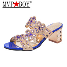 цены Mvp Boy  Women Summer Fashion Rhinestone Slipper Sexy Hollow Out Chunky High Heels Slippers Crystal Party Shoes Woman Flip Flops
