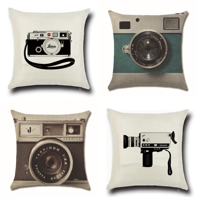 Vintage Cartoon Camera Cushion Cover Cotton Polyester 45cm 45cm Home Decorative Pillows Cover Pillowcases for Sofa Car Cojines in Cushion Cover from Home Garden