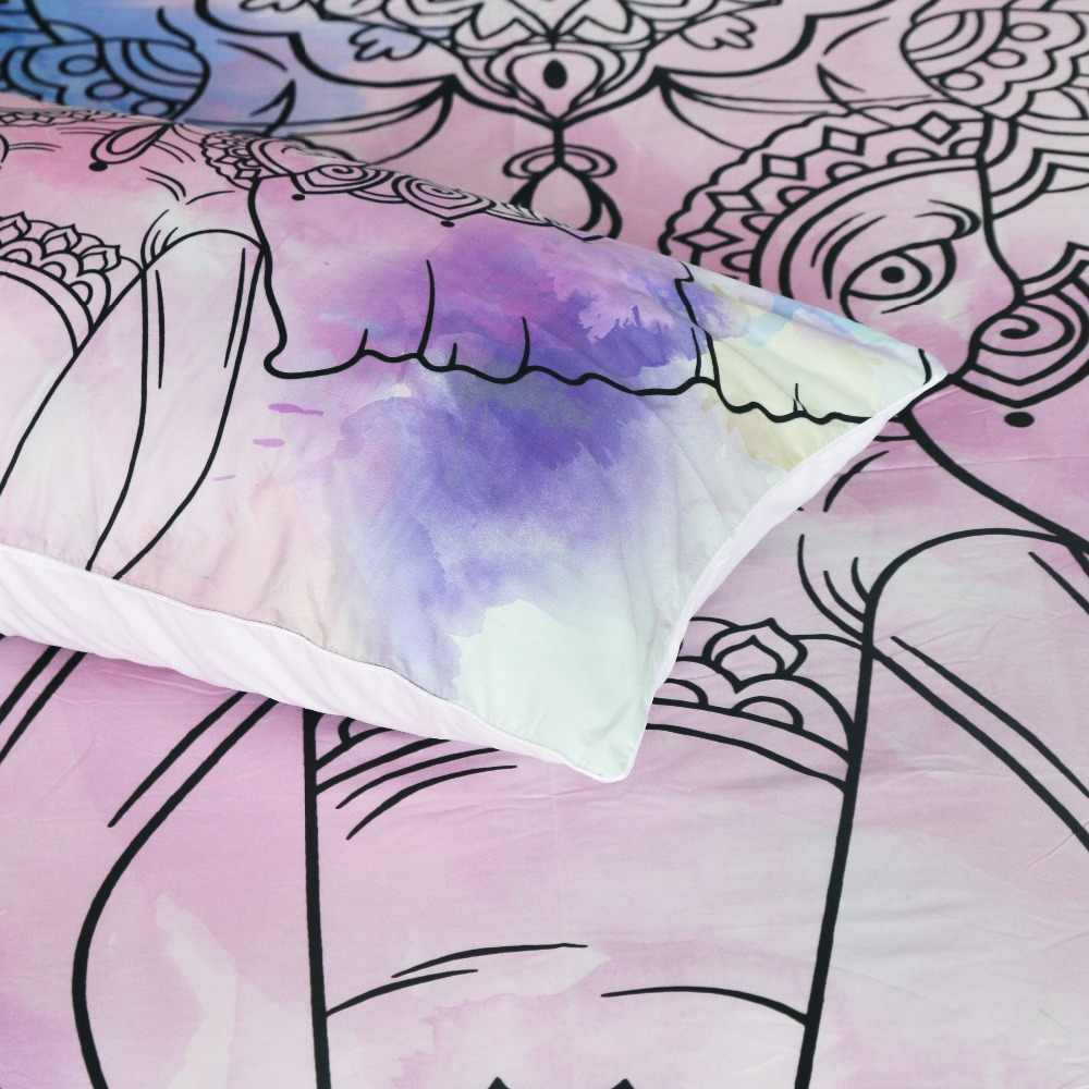 Постельные принадлежности, постельное белье со слоном, набор королевских акварельных пуховых одеял в богемном стиле, комплект мандалы, 3 шт., экзотические постельное белье с принтом животных