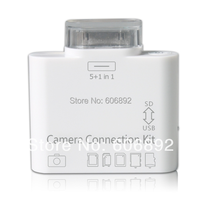 Free Shipping 2pcs/lot Wholesale 5 in 1 card reader USB Camera connection kit for ipad 2 2G Ipad3