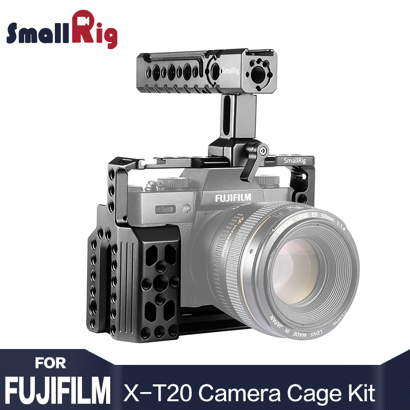 SmallRig Basic Cage Kit for Fujifilm X-T20 2022 with NATO Rails, Cold Shoes, 1/4 and 3/8 Threads, Top Handle