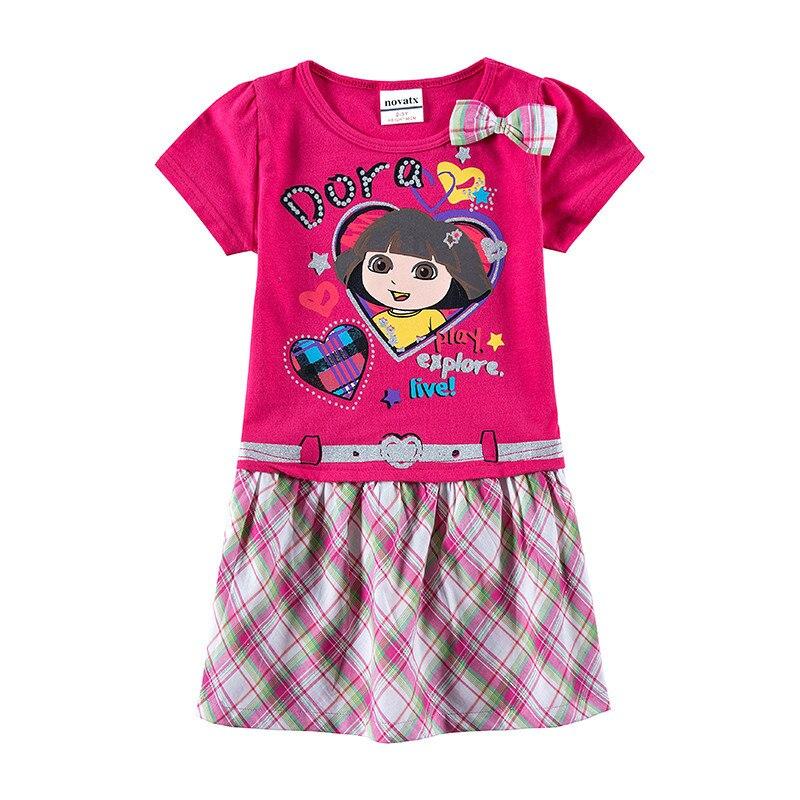 Girls Dress Cartoon Short Sleeve Summer Dress for Baby Girls Kids Clothing New Fashion Princess Dress with Bow