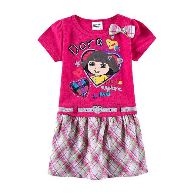 Vestido de las niñas de dibujos animados de manga corta vestido de verano para bebé niñas niños ropa nueva de moda vestido de princesa con arco