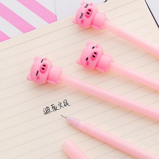 1 sztuk Cute Cartoon różowy nudny kiełkowanie świnia pióro neutralne Student biuro czarne pióro wieczne długopis Signature piśmienne