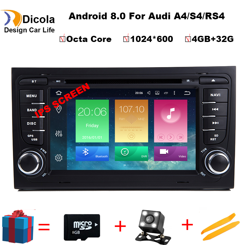 4 + 32g 2 Din 7 ''Android 8.0 Octa Core Radio Lettore DVD Dell'automobile per Audi A4 B6 b7 S4 B7 B6 RS4 2002-2008 RS4 B7 SEAT Exeo 2008-2012
