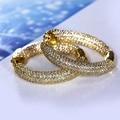 Novo Banhado A Ouro Clássico Hoop Brincos AAA Cubic Zirconia Brincos para as mulheres Do Partido jóias vintage