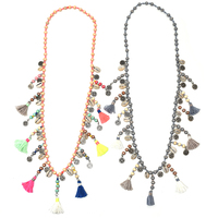 New Bohemia Boho Wooden Beads Necklaces Pink Tassel Pendants Long Necklace Statement Necklaces
