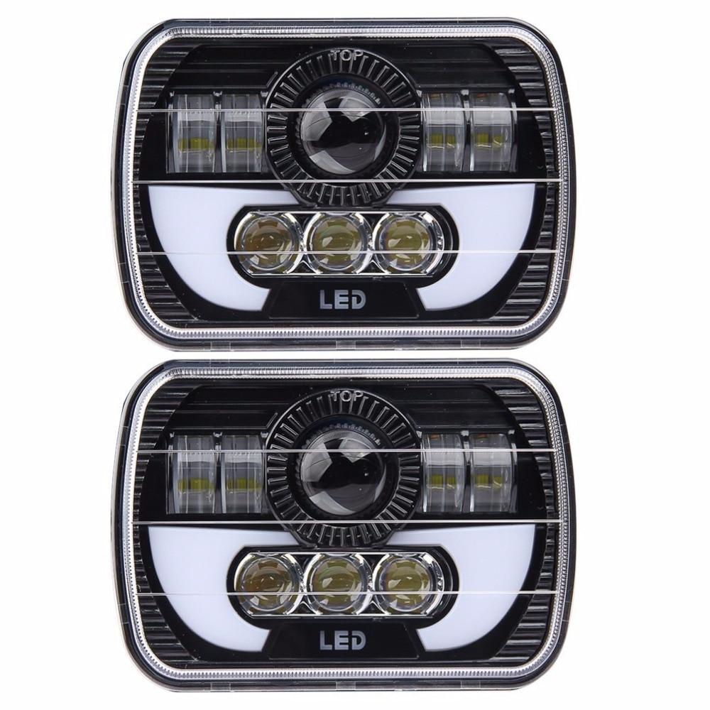 5 X 7 90 W Carré Camion LED Phare Conduite Lampes avec Salut/Lo DRL Pour Jeep Wrangler YJ Cherokee XJ Comanche MJ Camions
