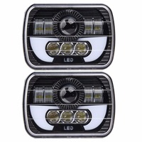 5 X 7 90W Square Truck LED Headlight Driving Lamps With Hi Lo DRL For Jeep