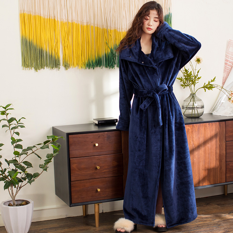 Image 4 - New Flannel Women Winter Bathrobe High Quality Long Thicken Warm Female Bath Robes High Collar Cardigan Home Dressing Gown-in Robes from Underwear & Sleepwears