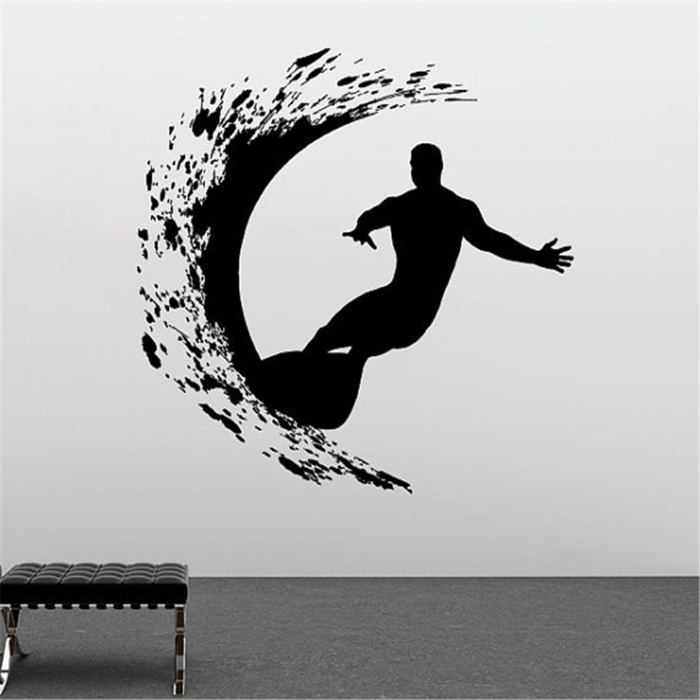 compare prices on surfer mural online shopping buy low price sport series wall decal extreme surfer adventure surfing wall sticker vinyl art design wall mural home
