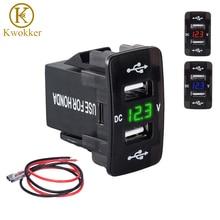 DC 12-24V Dual USB Port Car Charger Cigarette Lighter Socket Power Adapter with LED Digital Voltmeter Meter Monitor For Honda недорого