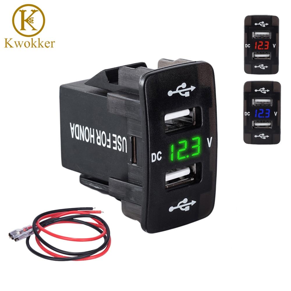 DC 12-24V Dual USB Port Car Charger Cigarette Lighter Socket Power Adapter with LED Digital Voltmeter Meter Monitor For Honda