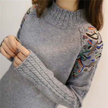 e25c45ec5e3e 2019 de moda Coreana de las mujeres suéteres y suéter Mujer volantes manga  cuello alto sólido suelto elástico Sexy mujeres