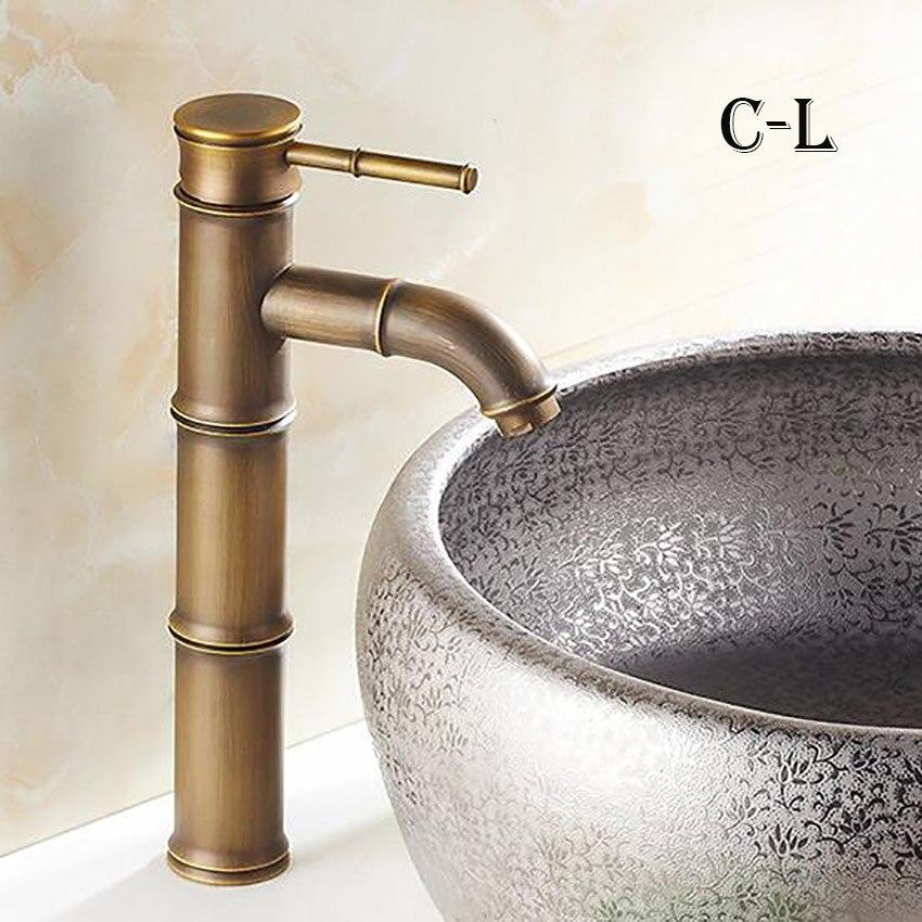 Европейский античный кран для ванной комнаты, латунный кран для раковины, высокий бамбуковый кран для горячей и холодной воды с двумя трубами, кухонный уличный садовый кран - Цвет: C-L