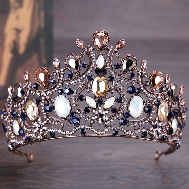Blue Crystal Wedding Bridal Crown Tiaras Multi Color Crystal Women Headband Pageant Prom Birthday Party Vintage Bride Hairbands