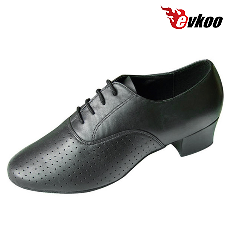Evkoodance Modern Ballroom Dance Shoes 4cm heel For Man Made By Perforated Genuine Leather boys Latin Dance Shoes Evkoo-294