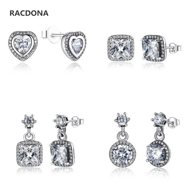 100% Authentic 925 Sterling Silver Poetic Mind Clear CZ Mickey Swarovski  Crystal Earrings Fit pan jewelery Women Earring 2f9ffc9290c3
