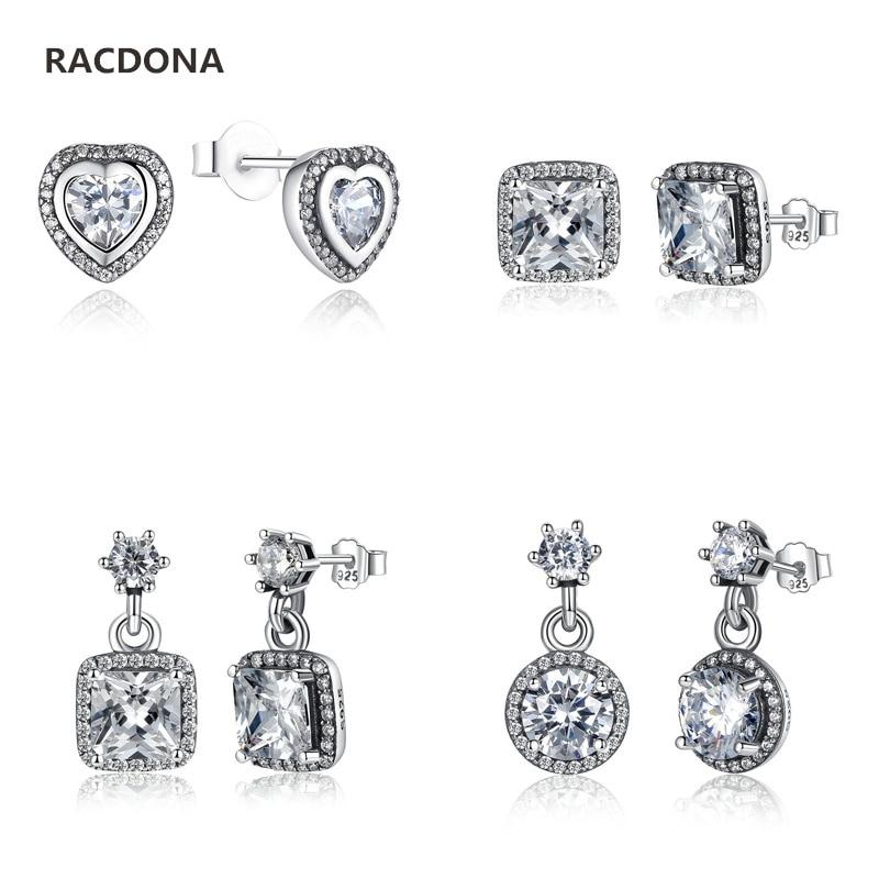 100% Authentic 925 Sterling Silver Poetic Mind Clear CZ Mickey Swarovski Crystal Earrings Fit pan jewelery Women Earring