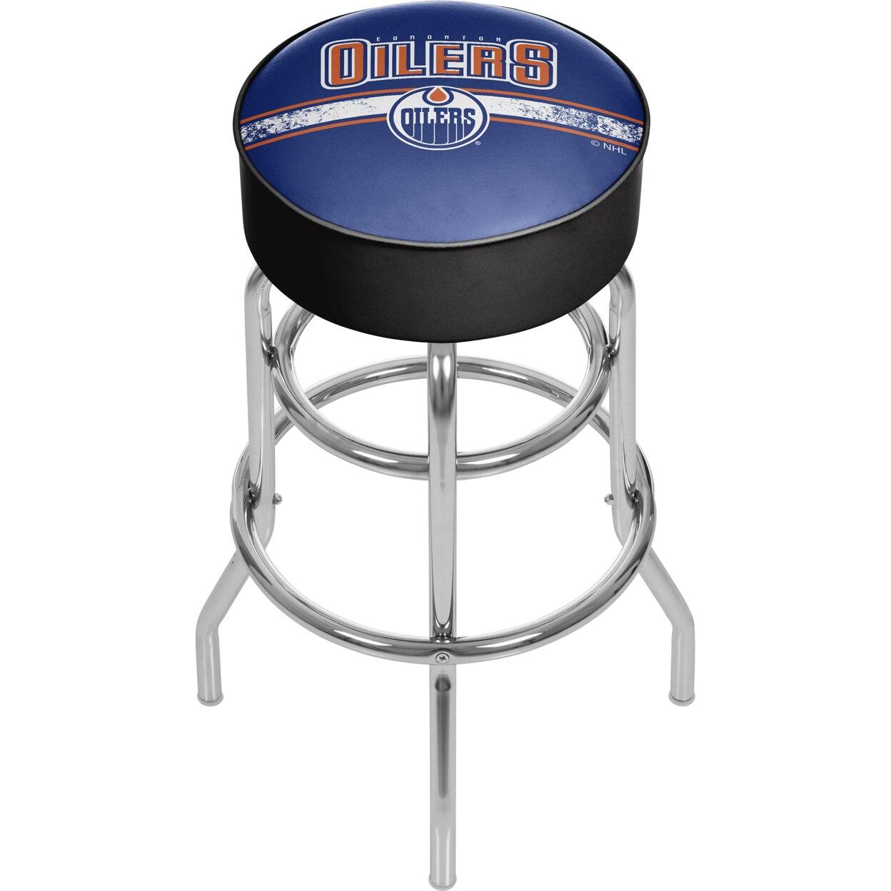 NHL Chrome Padded Swivel Bar Stool 30 Inches High - Edmonton Oilers худи print bar edmonton oilers