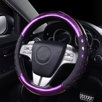 Dazzle Color Fashion Car Steering Wheel Cover PU Purple Green Red Auto Steering Cover Purple Green Red Car Styling 38cm