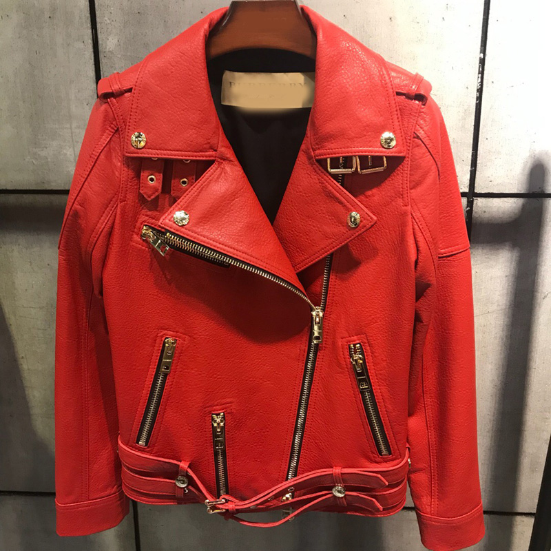 Fandy Lokar Real Leather Motorcycle Jacket Women Fashion Classical Zipper Jacket Coat Women Genuine Leather Jackets