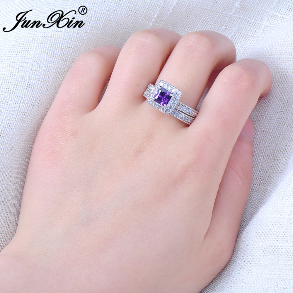 JUNXIN Elegant Purple Ring Set For Girls White Gold Filled Women\'s ...