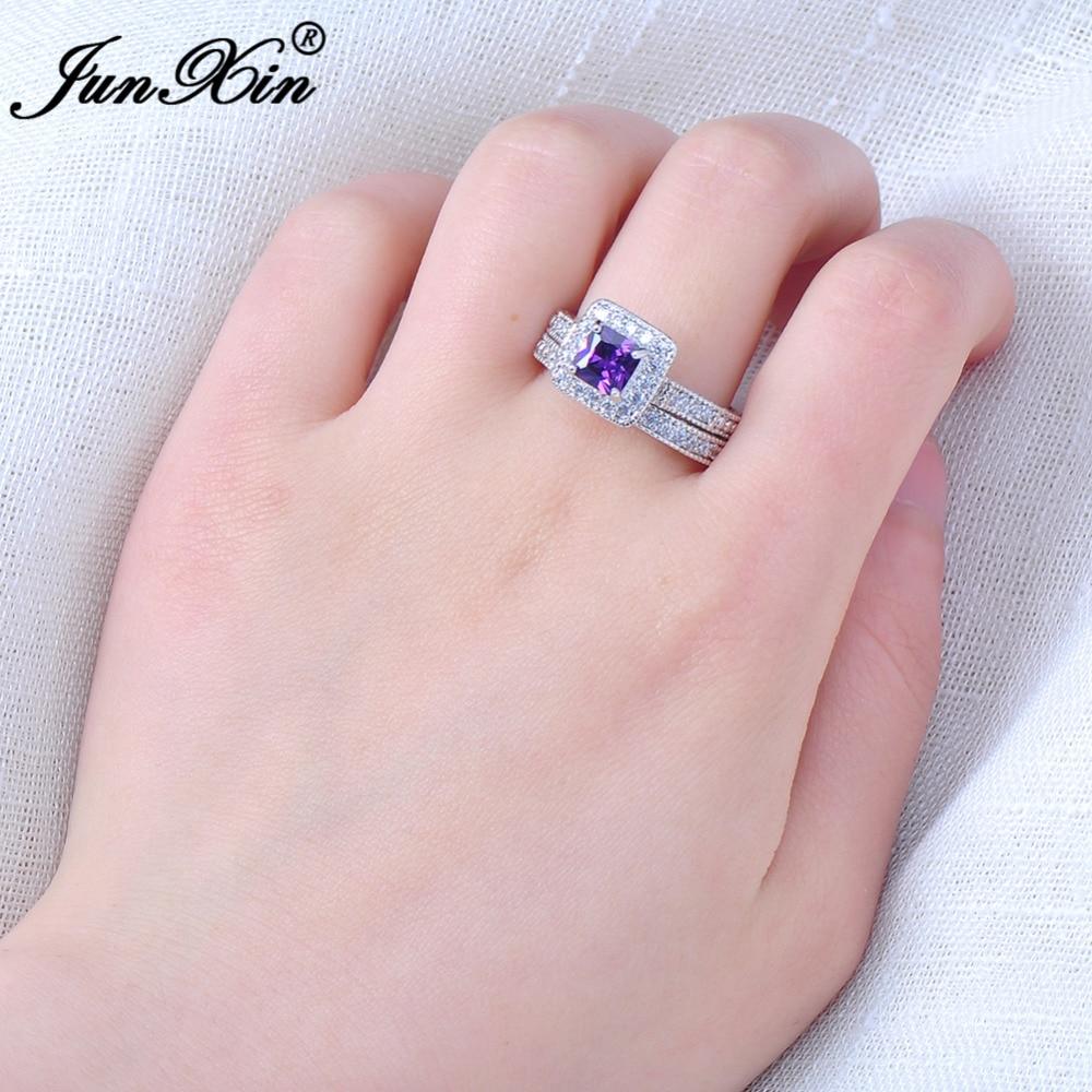 JUNXIN Elegant Purple Ring Set For Girls White Gold Filled Women\'s ...