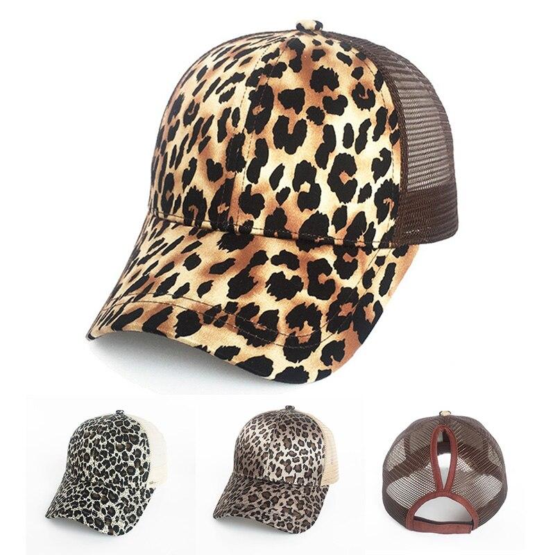 Fashion Leopard Ponytail Baseball Cap Women Messy Bun Baseball Hat Snapback  Summer Casual Girls Hip Hop e422dfb23cc3