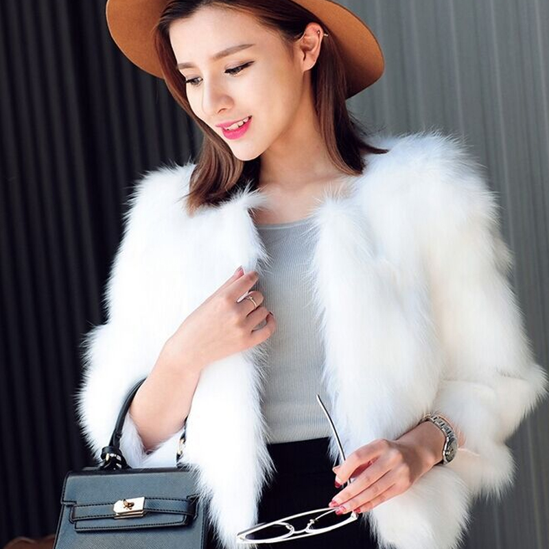 Naiveroo conejo Faux abrigo corto negro blanco imitación abrigo chaqueta 3 4  manga Slim moda invierno Outwear más tamaño 3XL en Abrigos de Piel  Sintetica de ... be5195bb7103