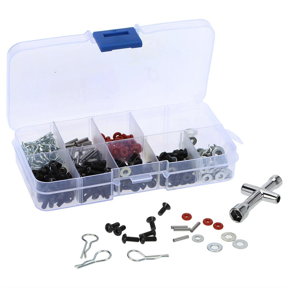 Muito prático ferramenta de reparo especial e parafusos caixa conjunto para 1/10 hsp rc carro incluir 270 pçs chave hexágono frete grátis