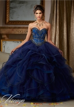Hot 2016 Navy Blue Red Quinceanera Dresses With Beaded Ruffles Sweet 16 Dress Vestidos De 15 Anos QR70