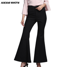 2016 Autumn Women's Flare Pants Fashion Cotton Blended Skinny Trousers Black Wide Leg Pants S-XL