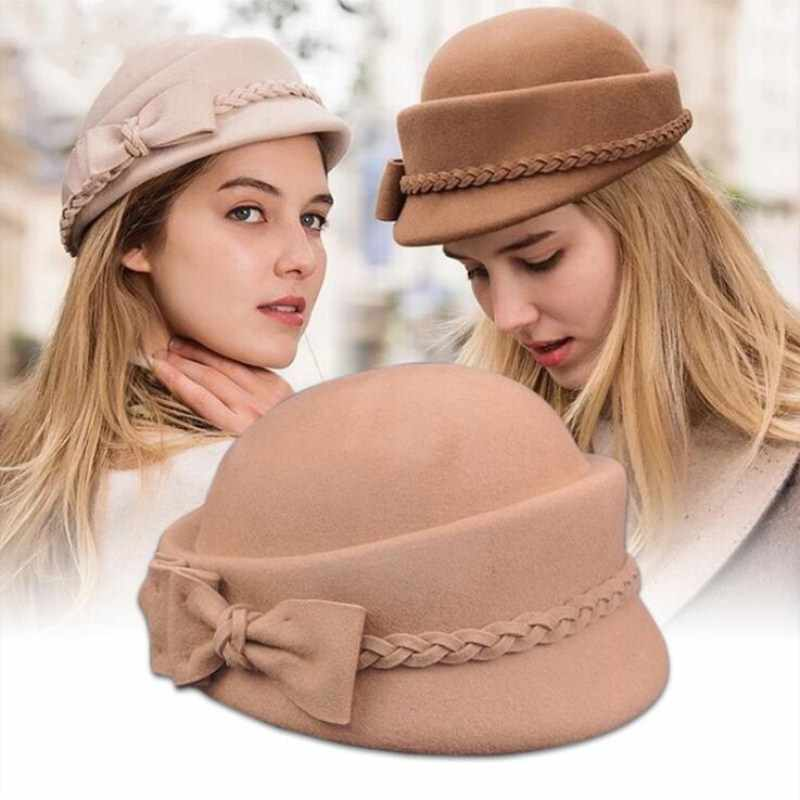 a3cd2659e5754 Seioum Elegant Winter 100% Australian Wool Felt Fedora Red Black Wedding  Hats Women Female Bow