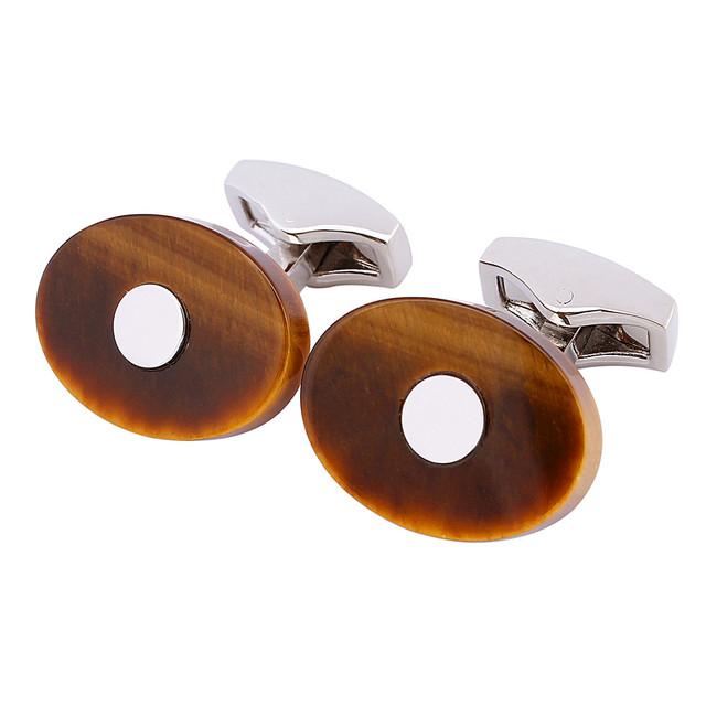 1 Par Venda Com Caixa de ligação do Punho de Pedra Olho de Tigre/Mãe De Pérola Homens Camisas Brancas Francês Manguito Links
