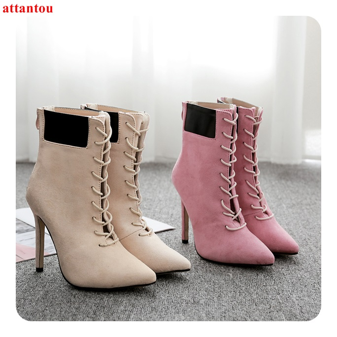 Lace Up Suede Leather Woman Short Boots 2018 Autumn Winter Fashion Female Ankle Boots Zipper Pointed Toe Thin Heel Women Shoes universe women winter ankle boots cow leather point toe zipper sexy thin heel black short boot matte boots female shoes g351
