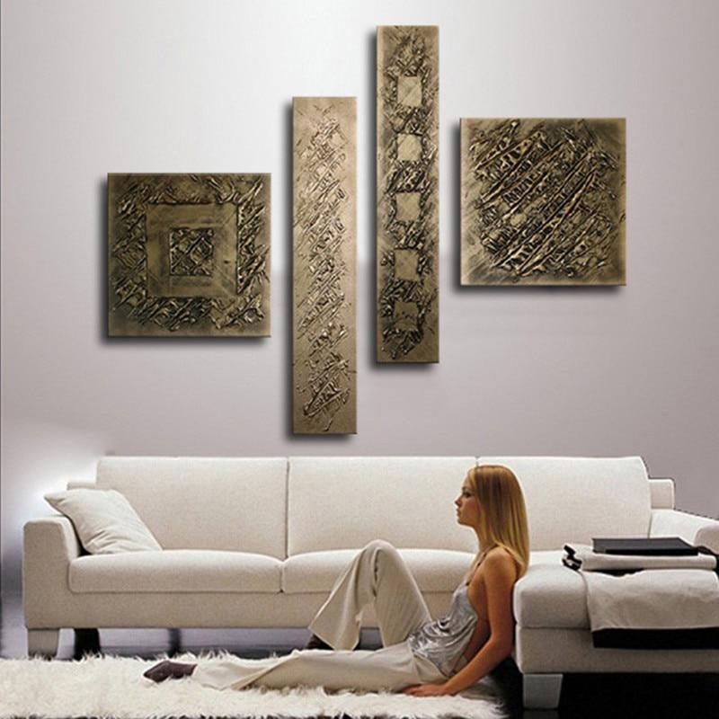4 لوحة الصور مجموعات هاندبينتيد مجردة كتابات لوحات قماش النفط الطلاء اليدوية براون الرئيسية جدار الفن لغرفة المعيشة-في الرسم والخط من المنزل والحديقة على  مجموعة 1