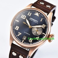 42mm DEBERT Blue Dial Power Reserve Sapphire Brown Rivets Leather Strap Rosegold Case Mens Automatic Watches