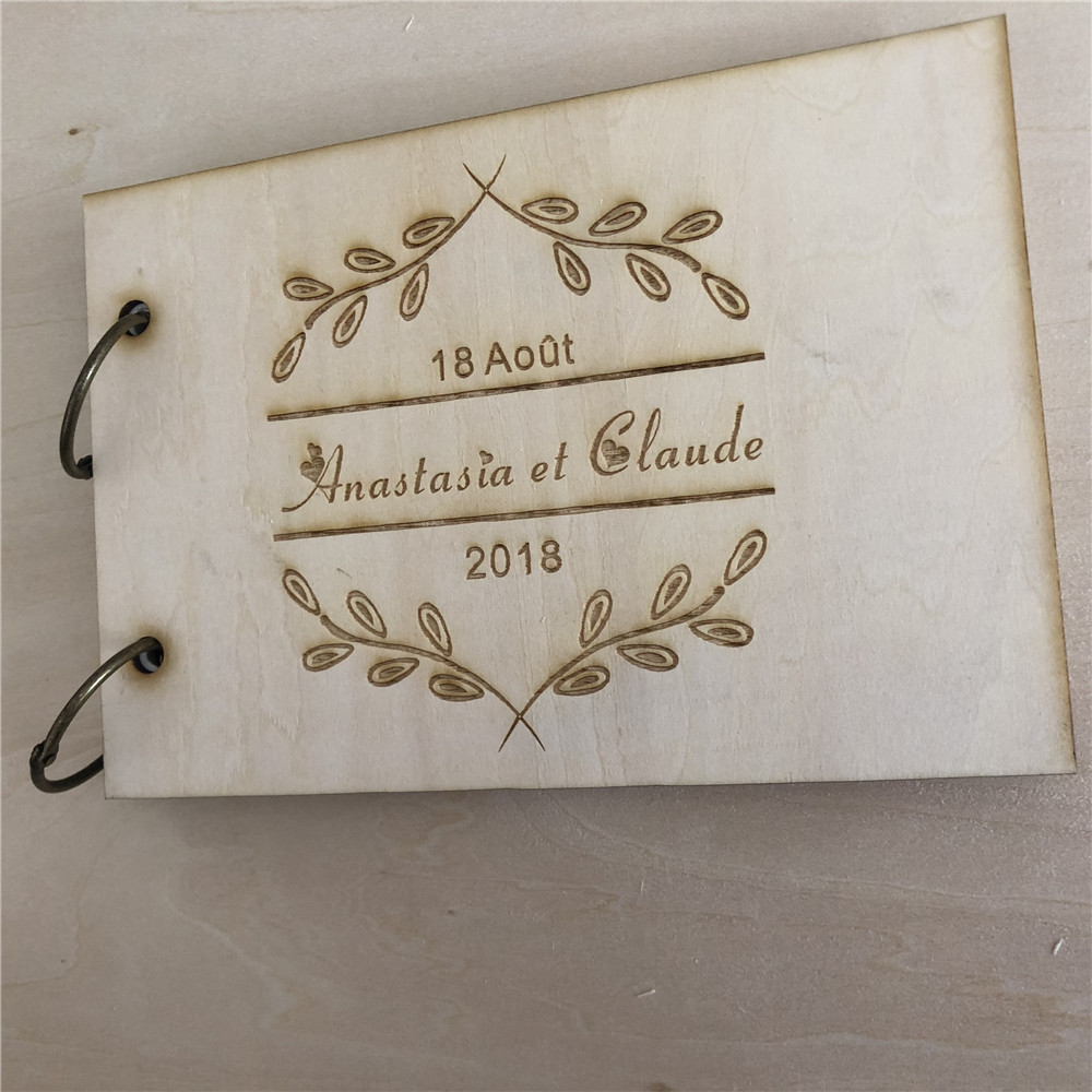 Custom Scrapbook, Floral wreath, Rustic Wedding Guestbook, Wood Wedding Guest Book, Bridal Shower Gift, Engraved Sign in Book