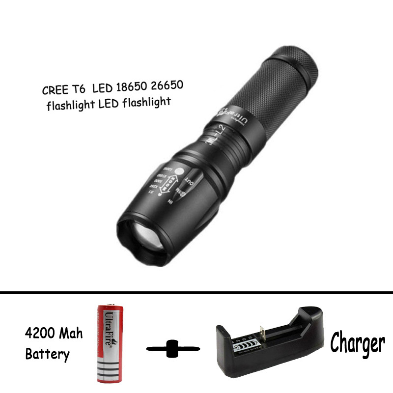 Self defense Flashlight 5 Mode 2000LM CREE XM-L T6 LED 18650/26650 Battery Waterproof High Power Torch Lamp Linternas trustfire tr j12 flashlight 5 mode 4500lm 5xcree xm l t6 led by 18650 26650 battery waterproof torch extension tube and holster
