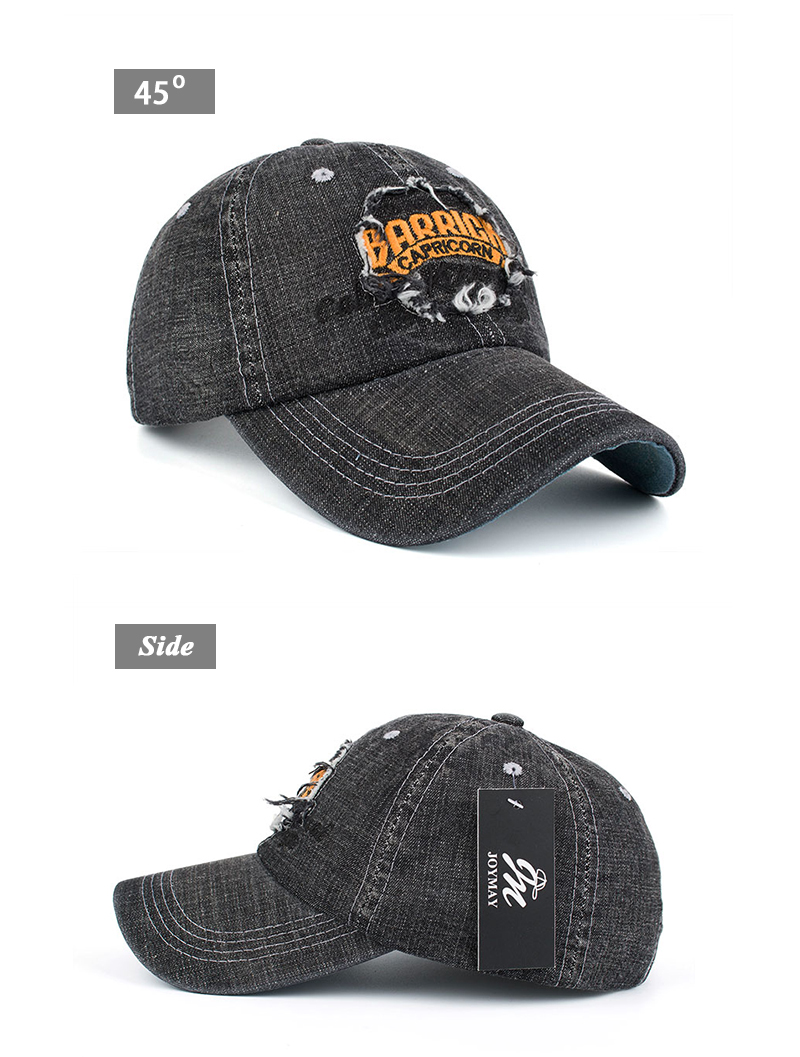 """Embroidered """"Capricorn"""" Baseball Cap - Front Angle and Side Views"""