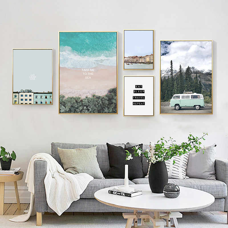 Nordic Minimalist Landscape Art Canvas Painting Posters Prints Modern Home Decor Wall Pictures For Living Room No Frame LB028