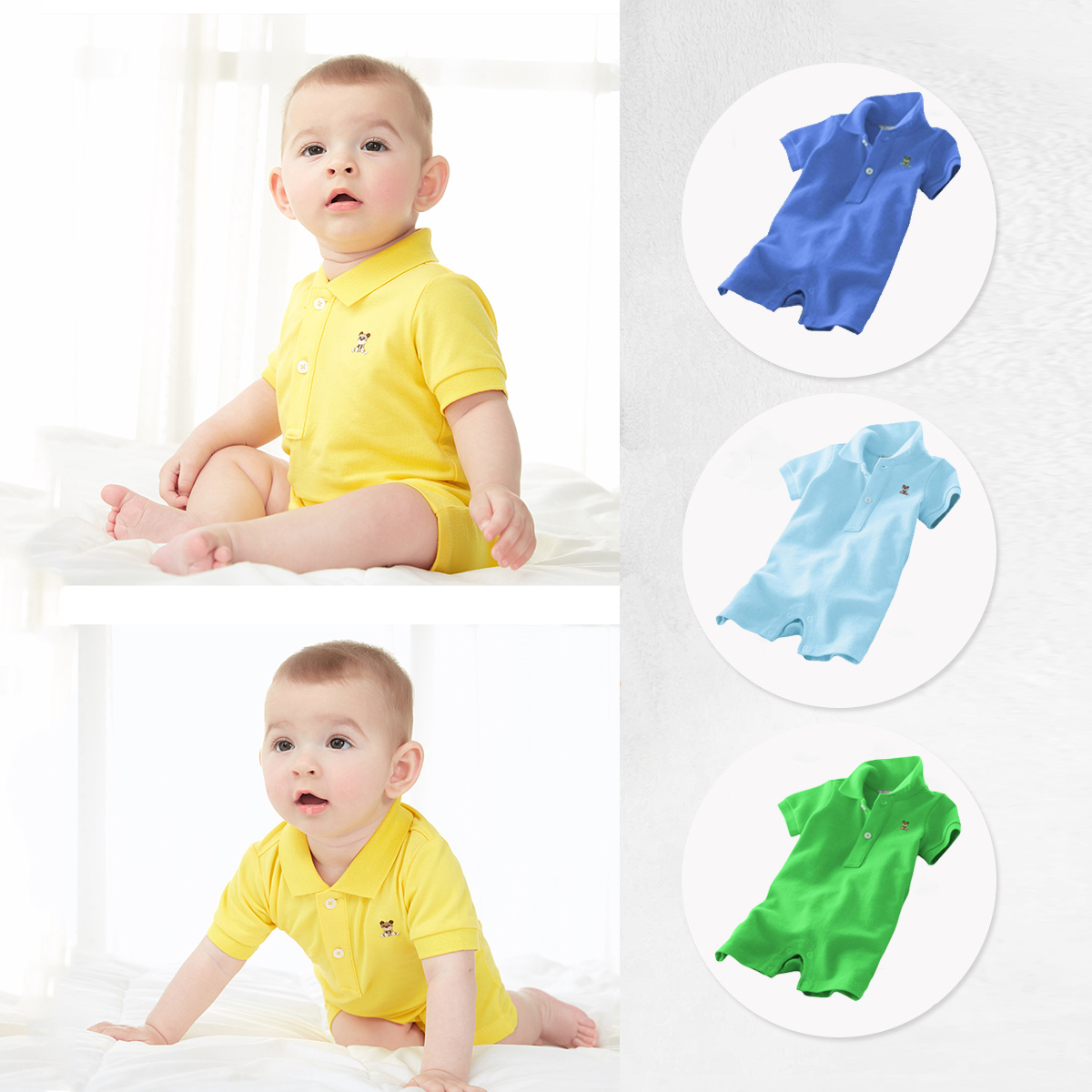 2019 Summer Polo Lapel Short Sleeved Boxer   Romper   Boys And Girls Jumpsuit Newborn Baby Pyre Cotton Clothes Infant Costume Roupas