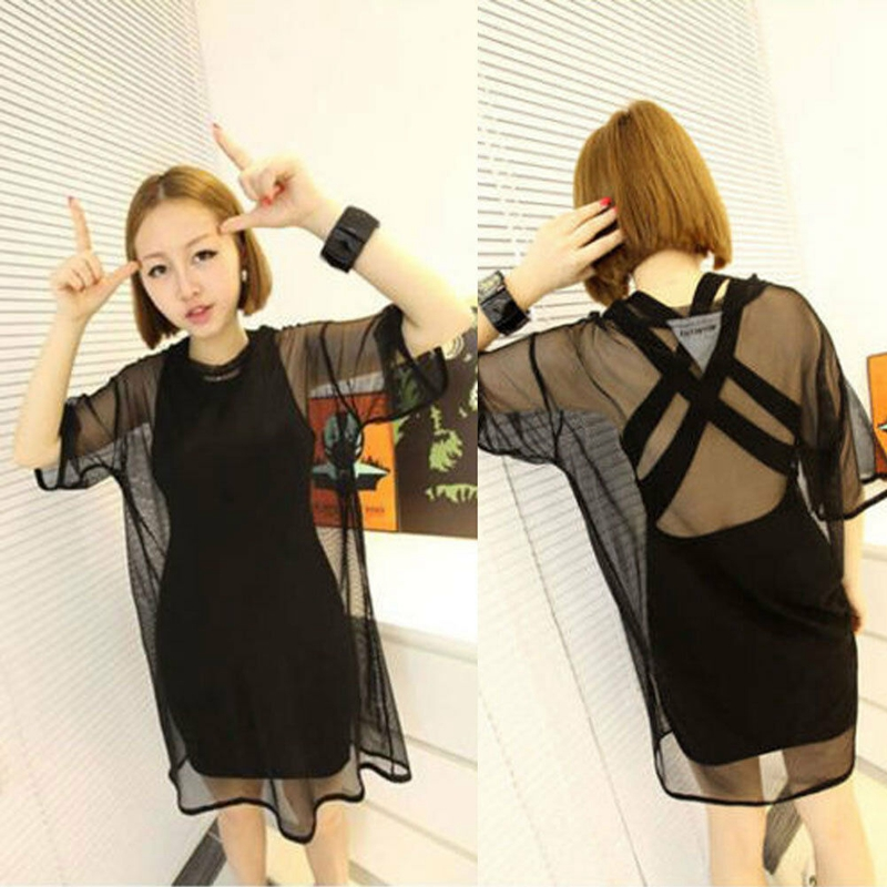 New 2020 Women Sexy Solid See Through Sheer Mesh Short Sleeve Bikini Cover Up Oversize O-Neck Loose Beach Dress Swimwear