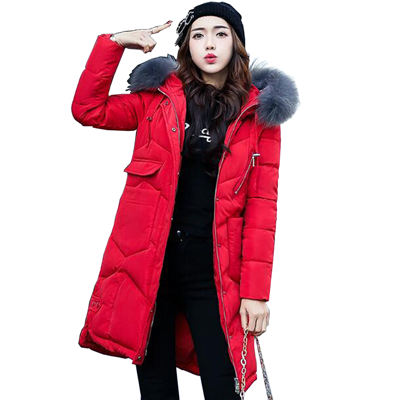 2017 women long jackets winter clothes thick coat with big fur collar for female slim korean solid parkas warm female outwear 79 2017 winter new clothes to overcome the coat of women in the long reed rabbit hair fur fur coat fox raccoon fur collar