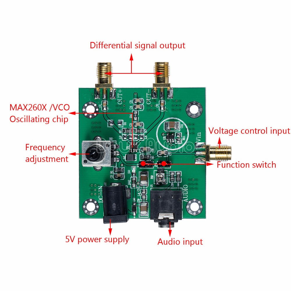 MAX2606 VCO RF Transmitter Module Audio IN Differential / Single-ended OUT  Board