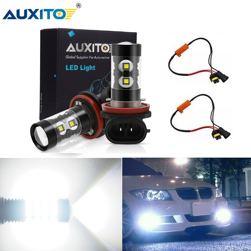 AUXITO 2x LED Fog <font><b>Light</b></font> H11 H8 H9 9006 HB4 Canbus Car Led <font><b>Light</b></font> <font><b>Bulbs</b></font> For <font><b>BMW</b></font> E39 E60 Fog Lamp <font><b>Daytime</b></font> <font><b>Running</b></font> <font><b>Lights</b></font> DRL 12V image