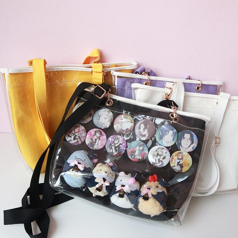 Doux Lolita bonbons couleurs Ita sac Double face transparent clairement gelée sac à main sac Messenger japonais sac à bandoulière Cosplay