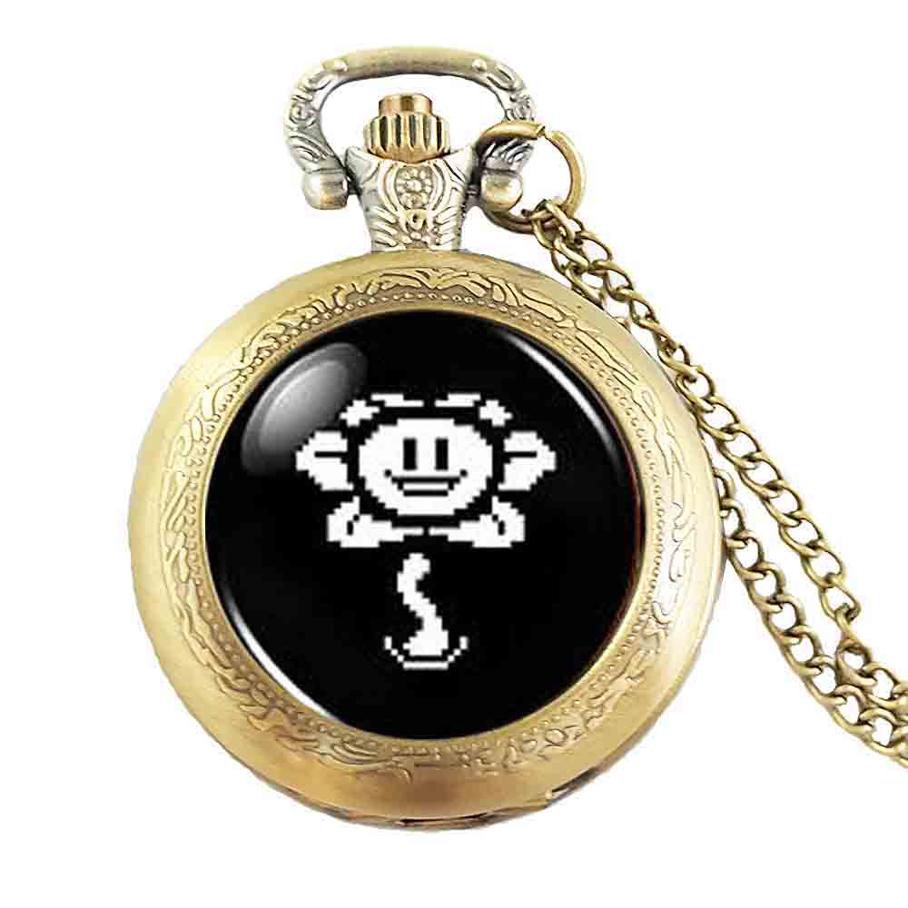 Undertale fans Flower Sans Video Game Gaming necklace pocket watch brass silver Pendant steampunk Jewelry Gift ladies chain mens