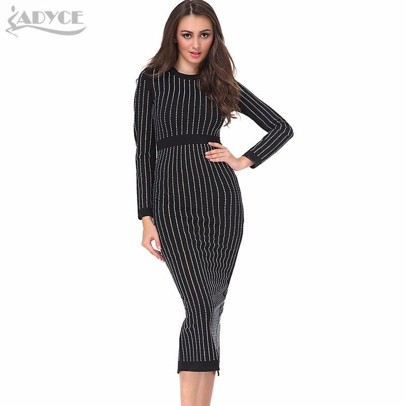 High Quality 2019 New Women Runway Dress Black Diamonds Long Sleeve Lady Celebrity Cocktail Party Bodycon